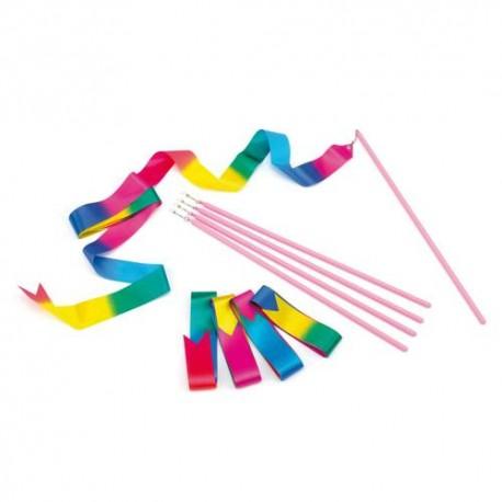 Set de 5 panglici multicolore pentru gimnastica ritmica